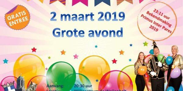 2 Maart: Carnavalsavond CV D'Oelewappers